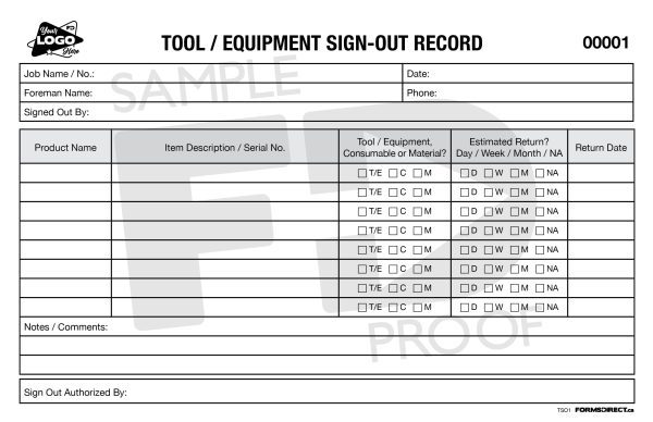 Tool / Equipment Sign-Out Record Customizable Form Template
