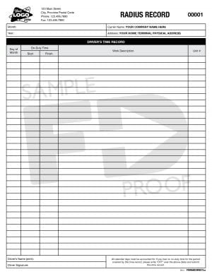 Radius Record Custom Short Haul Log Form Template