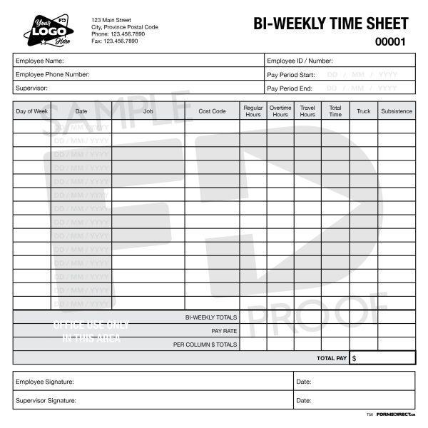 bi weekly time sheet custom form template