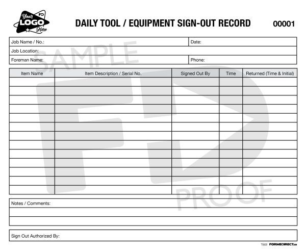 daily tool equipment sign out record custom form template
