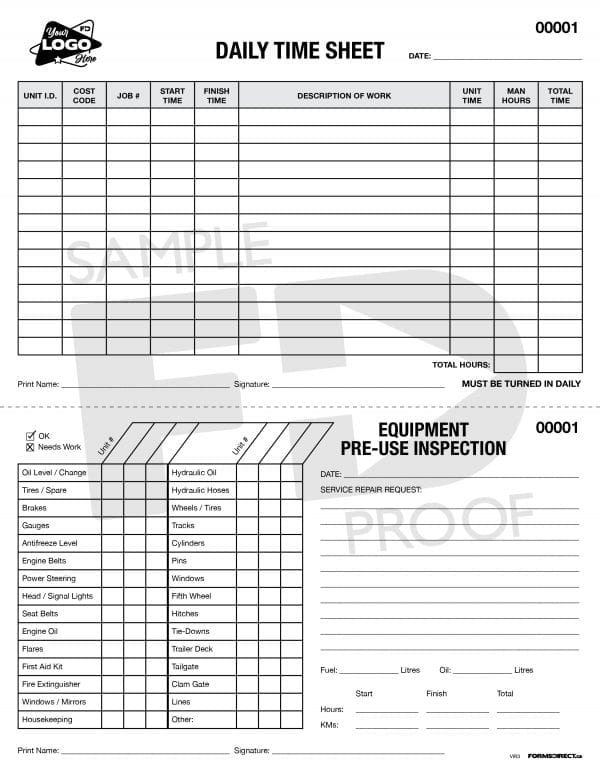daily time sheet pre use inspection form template