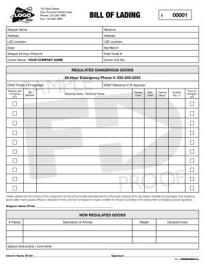 bill of lading bol4 driving record custom form