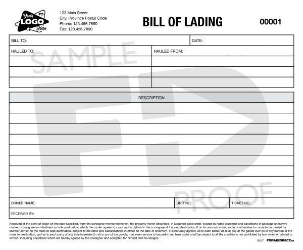 bill of lading custom ncr form template