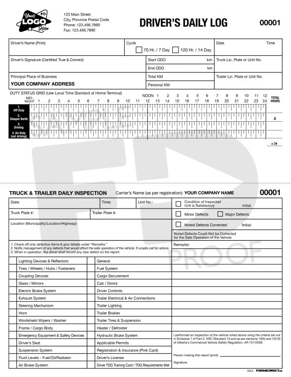 Drivers Daily Log NCR Custom Form Template