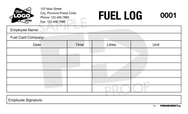Fuel Log Customizable Form