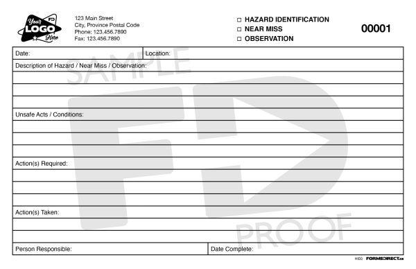 Hazard ID Near Miss Observation Form Template