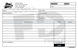 Invoice INV1 carbonless custom form template