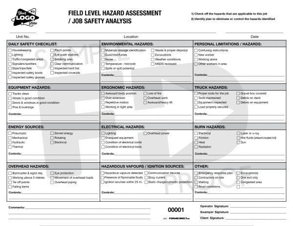 Job Safety Analysis FLHA form template