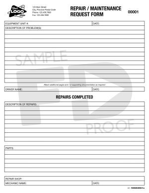 Repair Maintenance Request form template