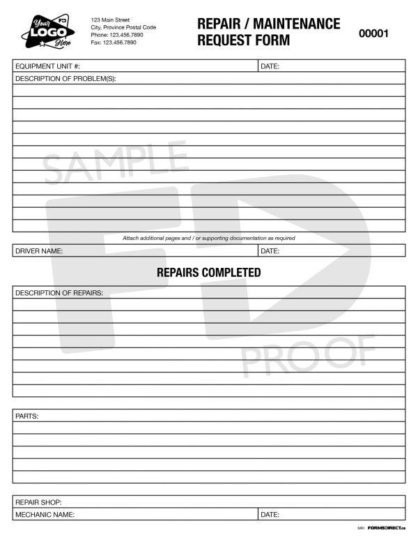 Repair Maintenance Request form template