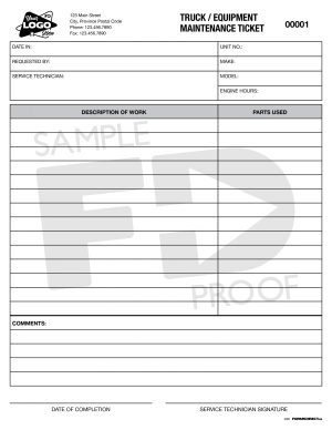 Truck Equipment Maintenance ticket custom form template