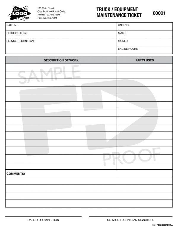 Truck Equipment Maintenance ticket custom form template