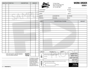 Maintenance Work Order Custom Form