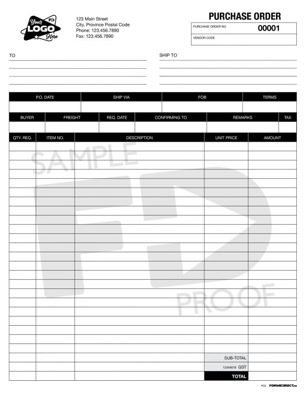 Purchase order custom template form