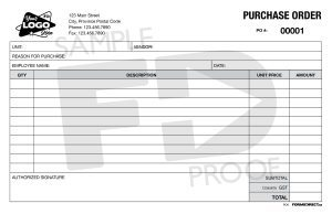 purchase order PO6 carbonless form template