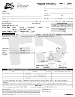 Pressure Truck Ticket Custom Form Template