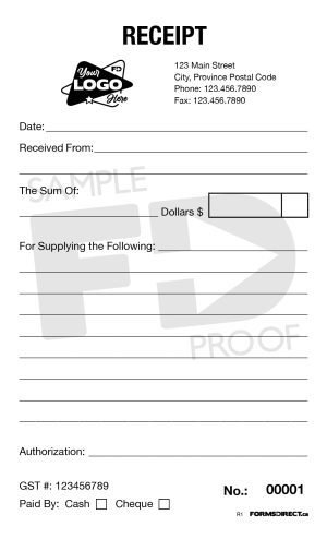 Pocket Sized Single Receipt Customizable Form Template