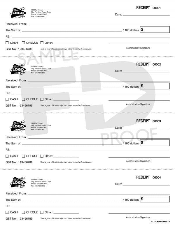 4 Up receipt custom company logo