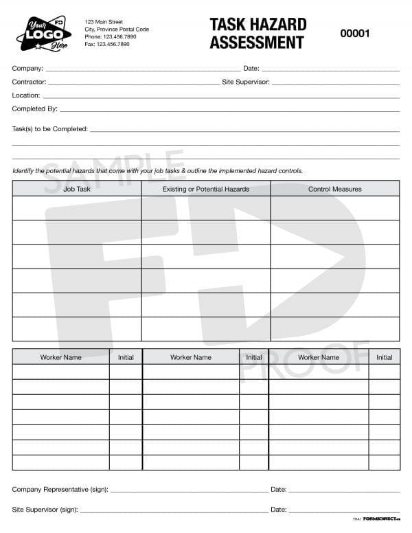 Customizable Task Hazard Assessment Form
