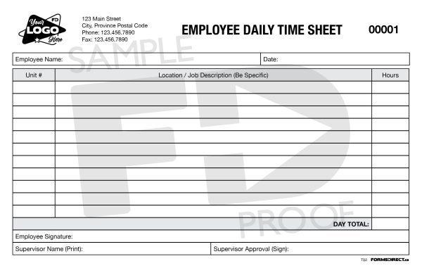 employee daily time sheet custom template