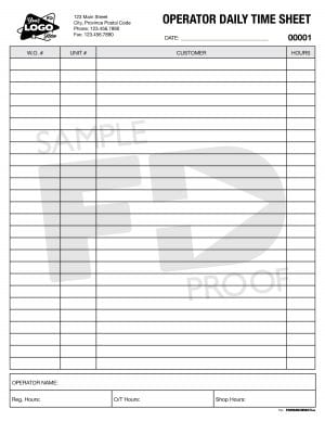 operator daily time sheet custom form template