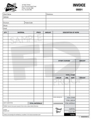 electrical hvac automotive labour materials invoice