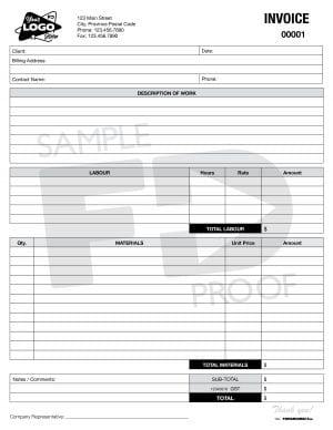 electrical hvac automotive contractor labour materials invoice