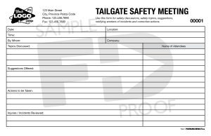 Tailgate Safety Meeting custom form template