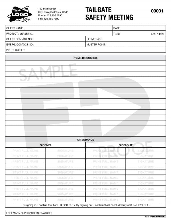 tailgate safety meeting worksite custom form template