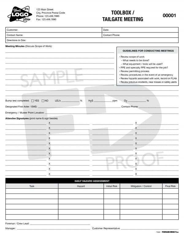 toolbox tailgate safety meeting custom form template