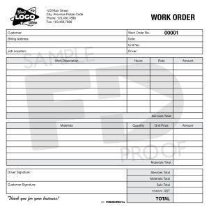 Work Order Custom Form Template