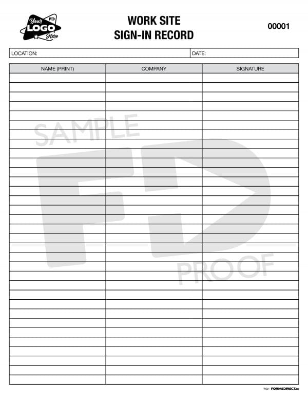 worksite sign in record custom form template