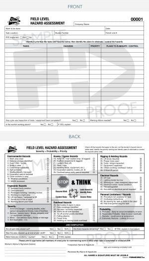 field level hazard assessment pocket size safety card