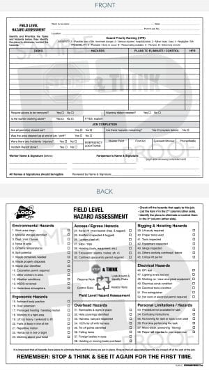 field level hazard assessment custom safety card