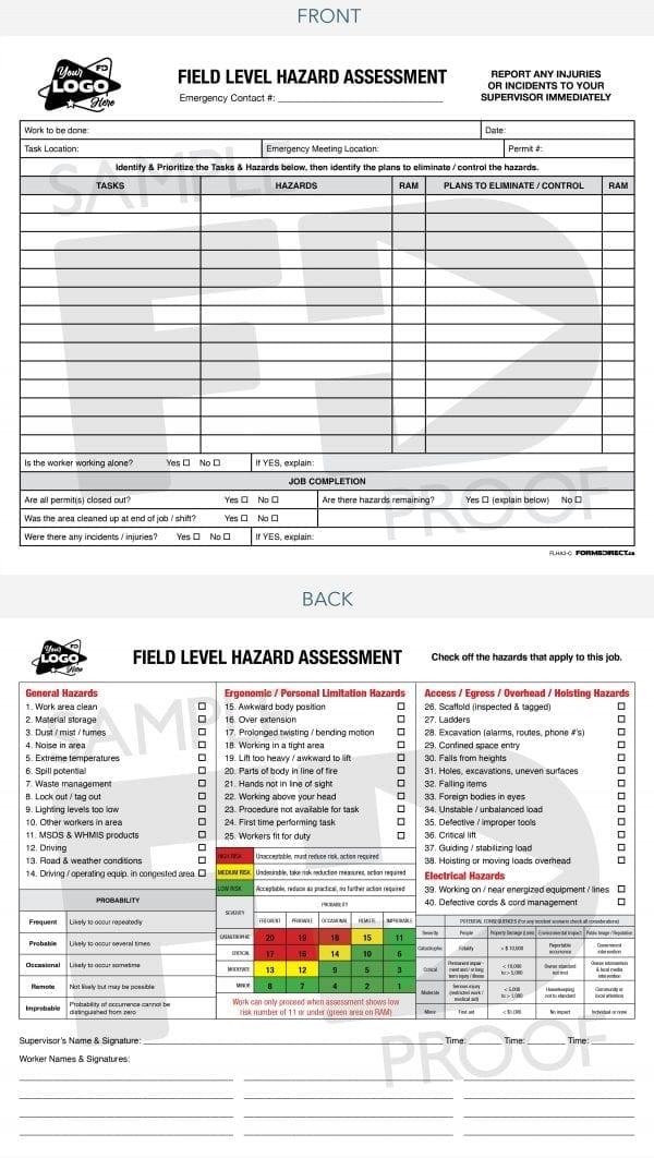 field level hazard assessment safety card