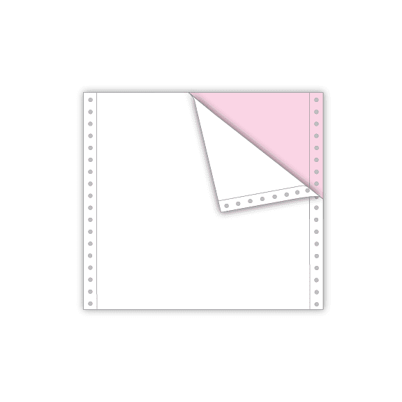 continuous feed paper 2 part white pink 8.5 x 7