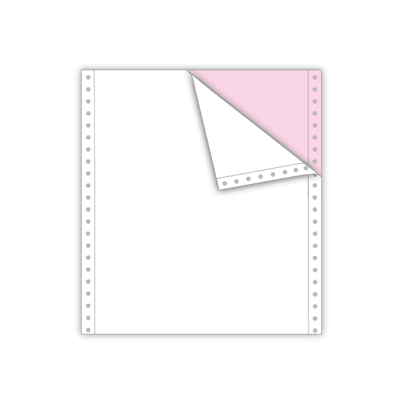 continuous carbonless feed paper 2 part white pink letter size