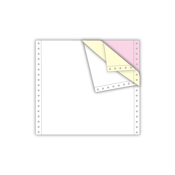 continuous feed paper 3 part white canary pink 8.5 x 7