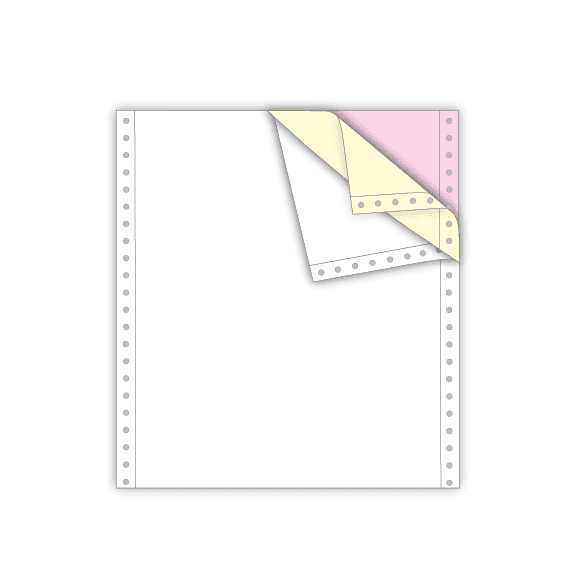 continuous feed paper letter size 3 part white yellow pink